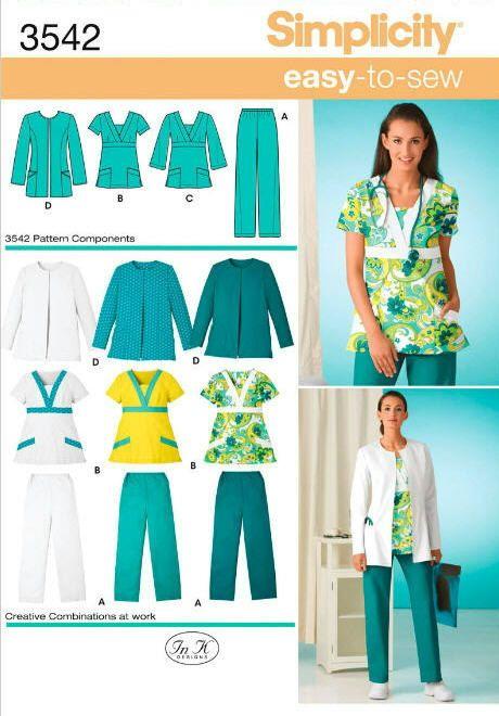 8b806b96480 Simplicity 3542 Misses' & Women's Plus Size Scrubs US Sizes: 10 - 18 or 20w  - 28w