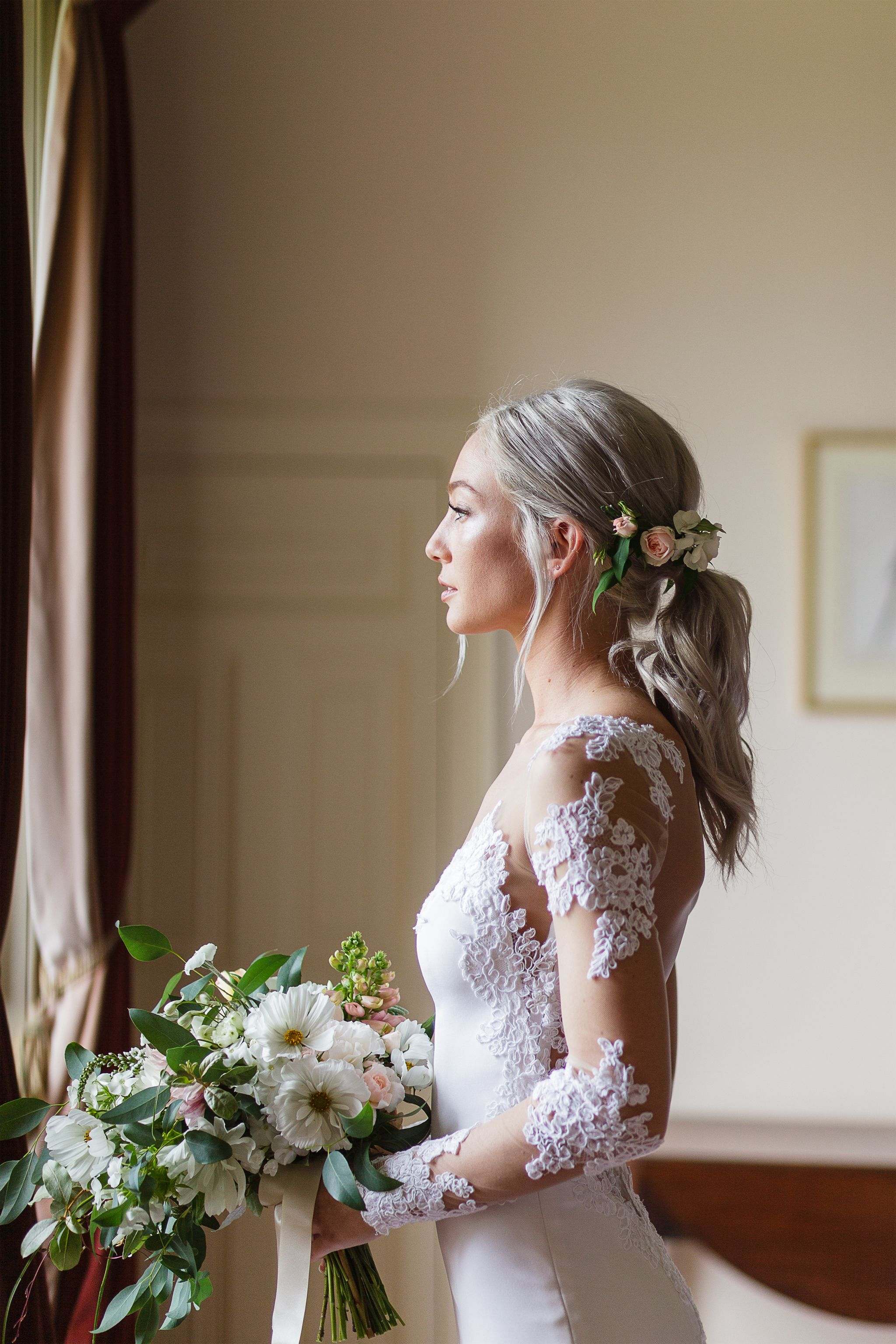 Romantic Low Ponytail With Fresh Roses | Bridal ponytail, Bride hairstyles, Wedding ponytail ...