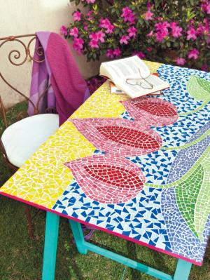 Garden mosaic table