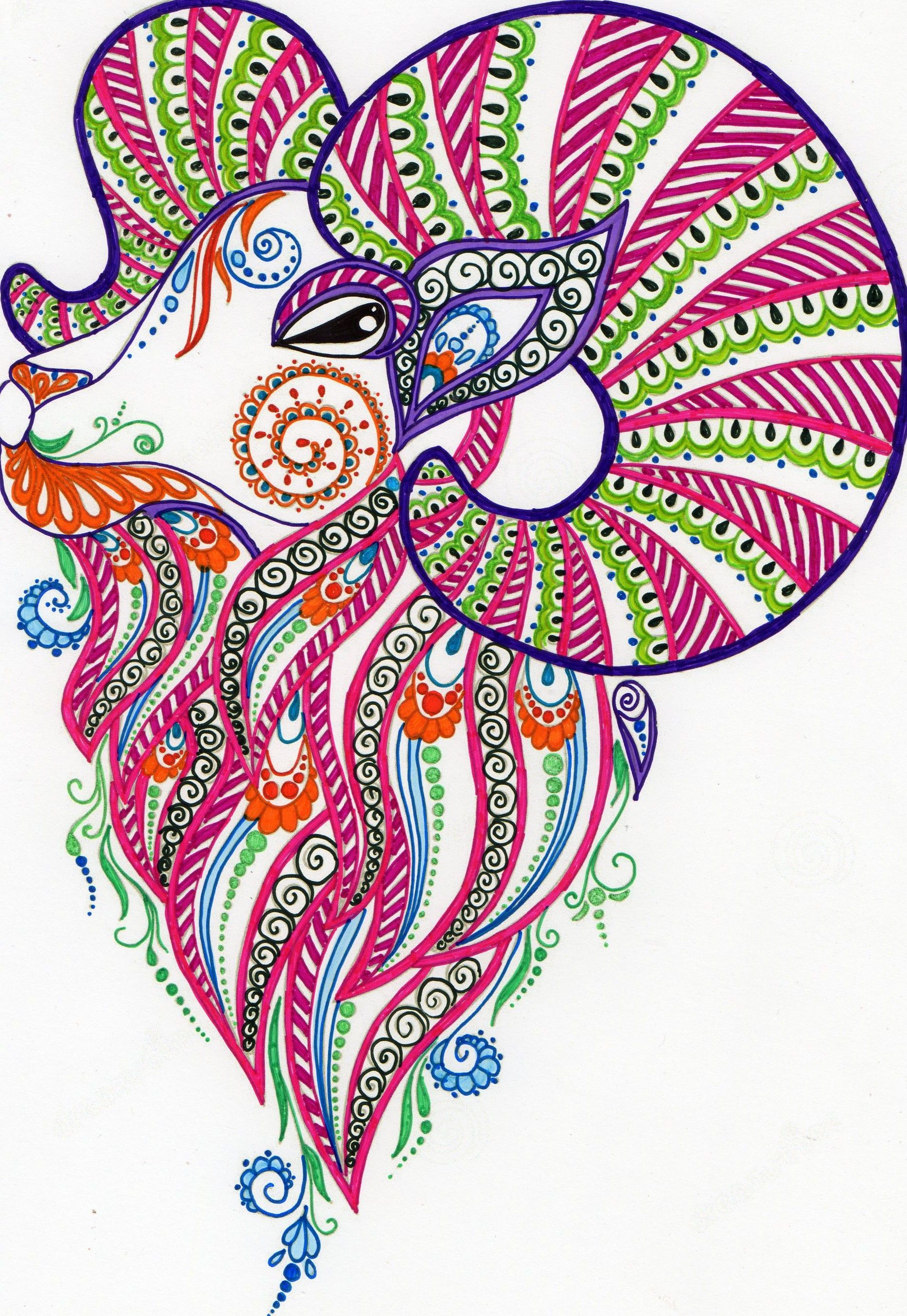 Aries zentangle coloring | b3M1D3♤ | Pinterest | Aries and Drawing ...