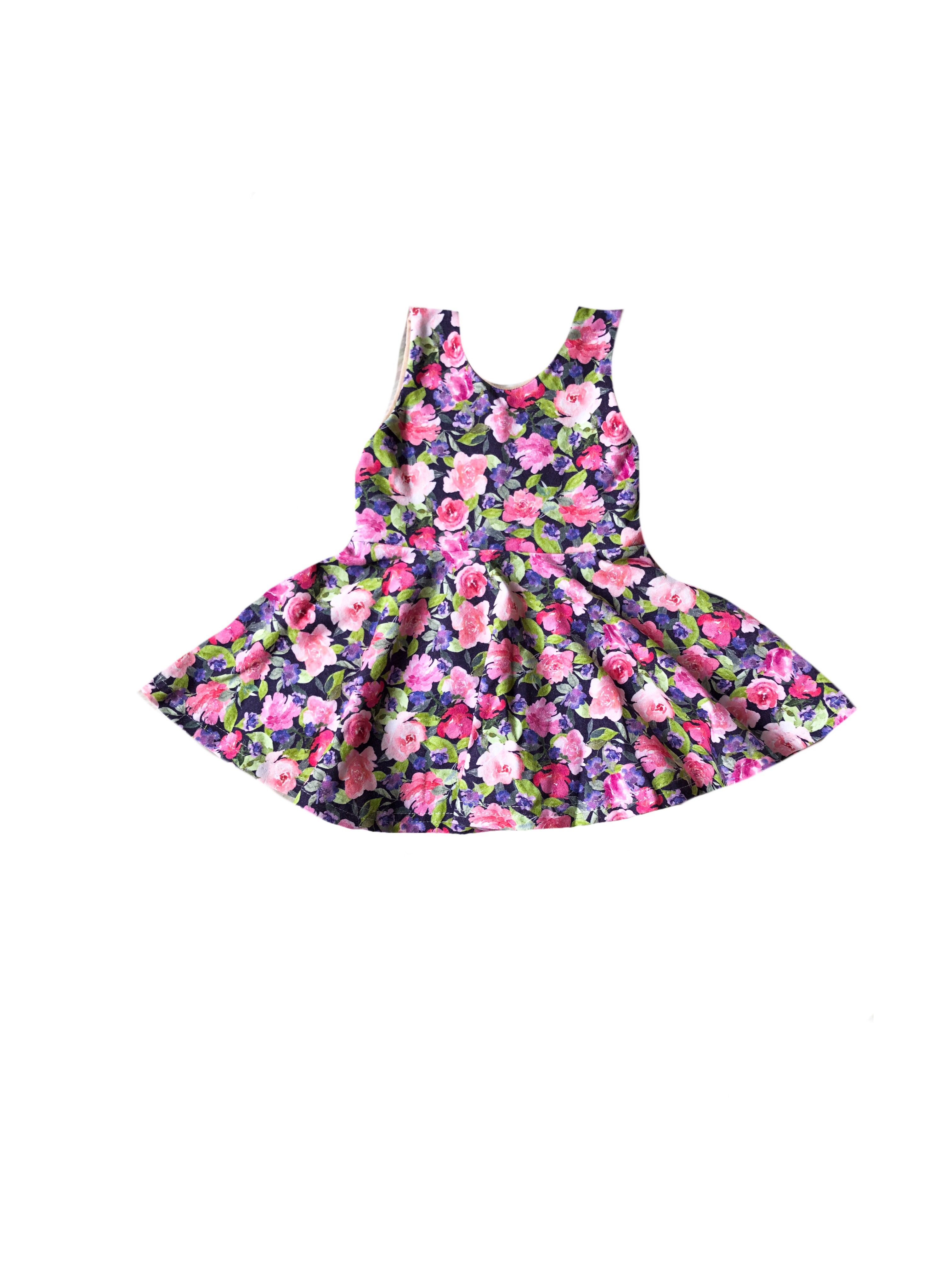 e850ad58b3efd Pink Floral Scoop Back Tank Top Peplum - Girls Spring Navy Purple ...