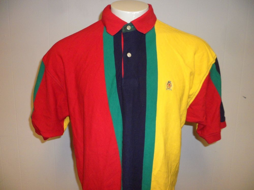 MEN VINTAGE TOMMY HILFIGER COLOR BLOCK CREST SHORT SLEEVE RUGBY POLO SHIRT LARGE #TommyHilfiger #PoloRugby