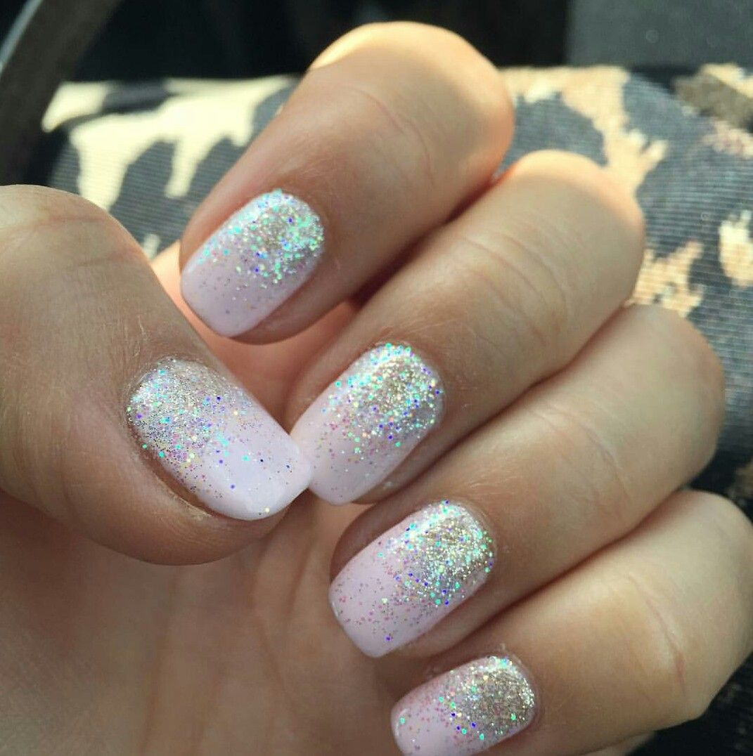 Winter Glow Shellac And Champagne Glitter Ombre Nails Glitter