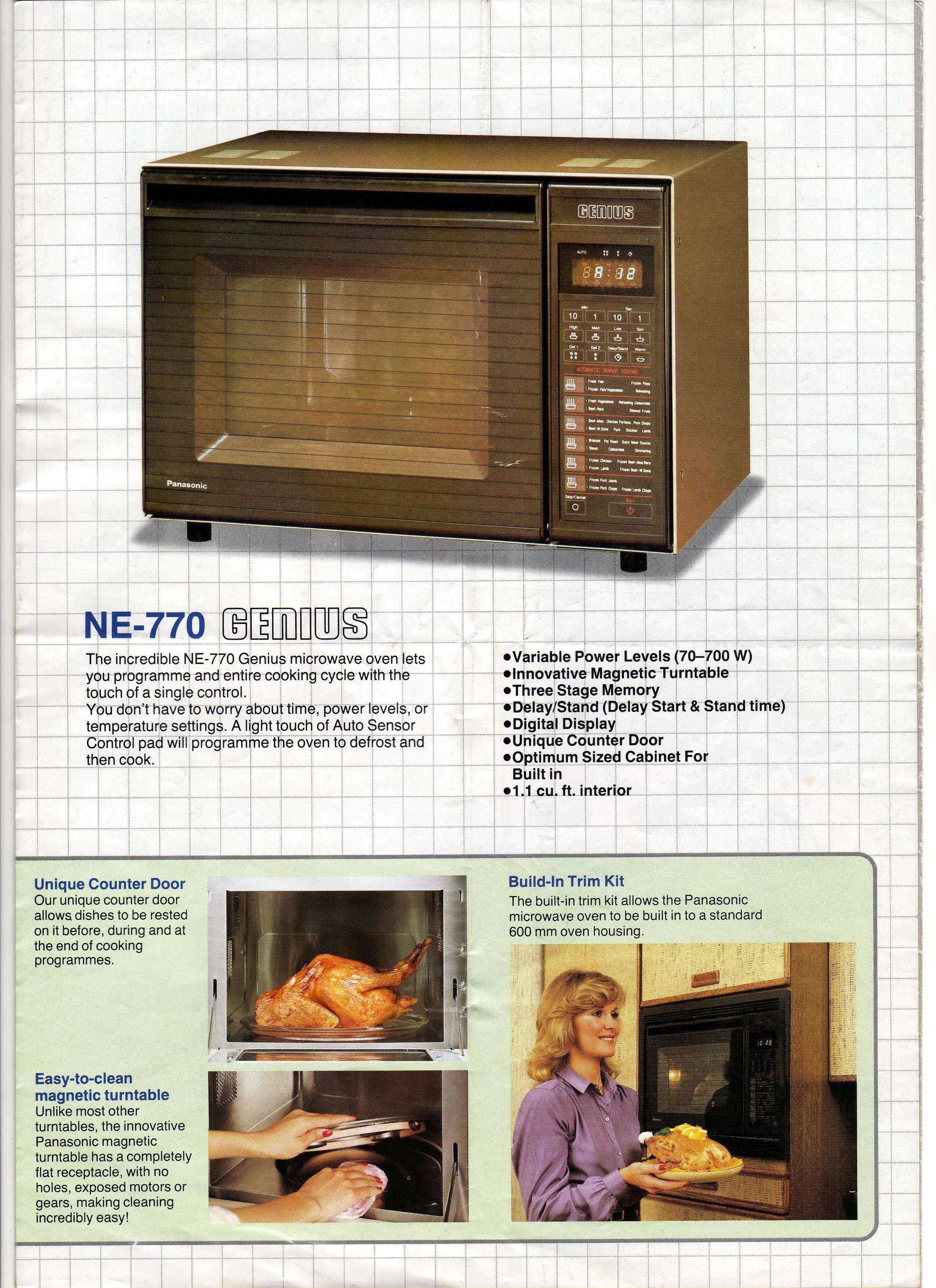 Vintage Panasonic Genius Ne 770 Microwave Oven Ad 1984