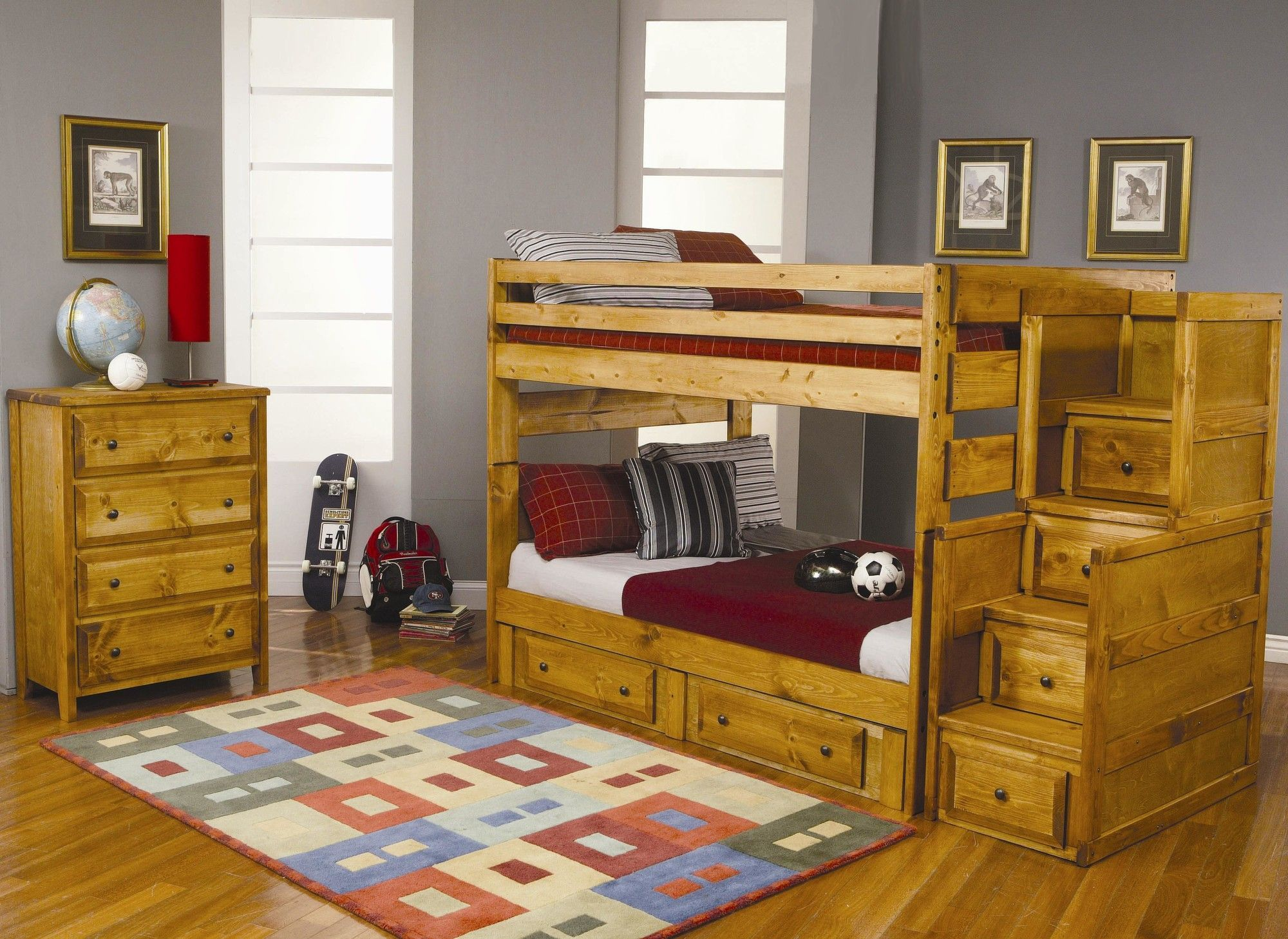 San Bernardino Drawer Chest Bunk Bed with Stairs Pinterest