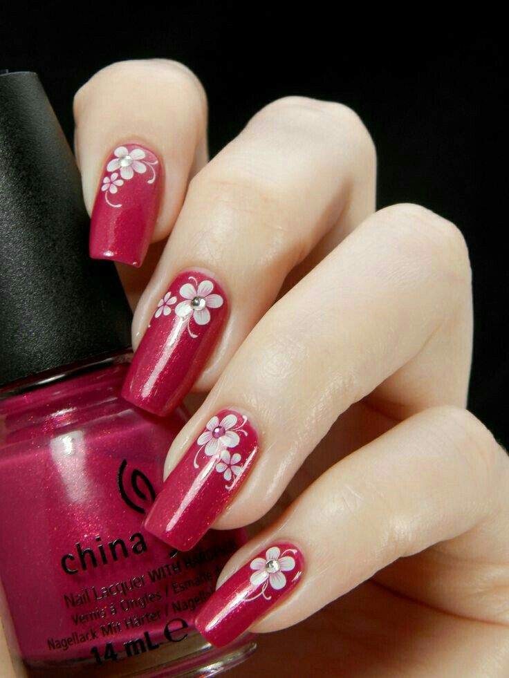 Red Flower Nail Art Design Red Nail Designs Flower Nail Art