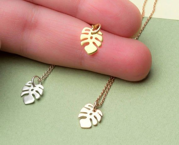Photo of Solid Gold Monstera Necklace Tropical Tiny Leaf Rose Gold White Dainty Jewelry …