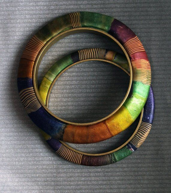 MATCHING JEWELTONED POLYMER CLAY BRASS BANGLES