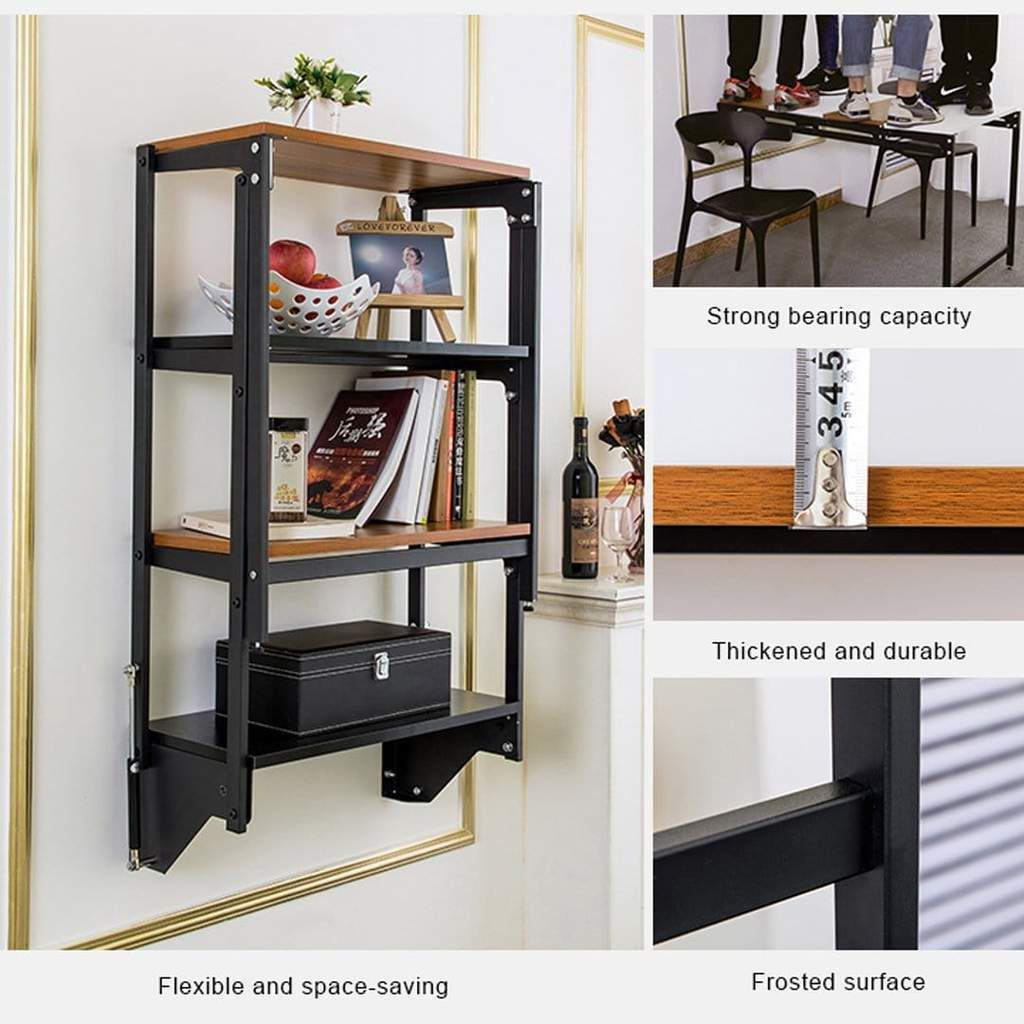 Wall Mounted Convertible Shelf And Table In 2020 Shelves Wall Mounted Dining Table Space Saving Furniture