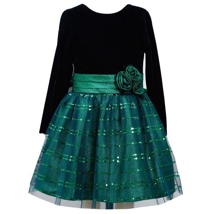 Bonnie Jean Tween Big Girls Long Sleeve Metallic Velvet Holiday Dress 4-16 New