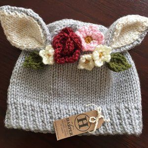 MADE TO ORDER- Flower Hat - Bunny Flower Crown Knit Hat - Bunny Hat ... 16262a968d47