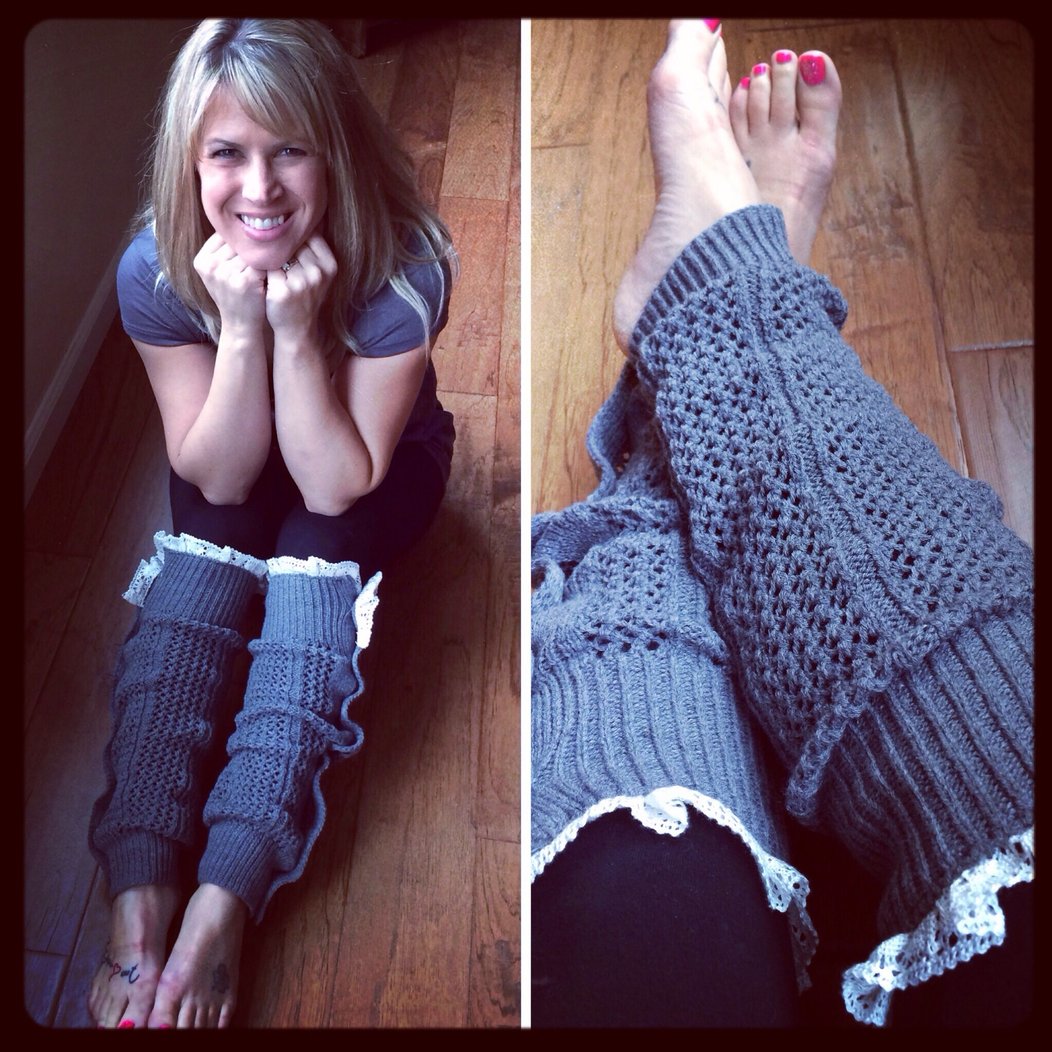 Nellie Knit Leg Warmers in mid-grey with lace! Love them!