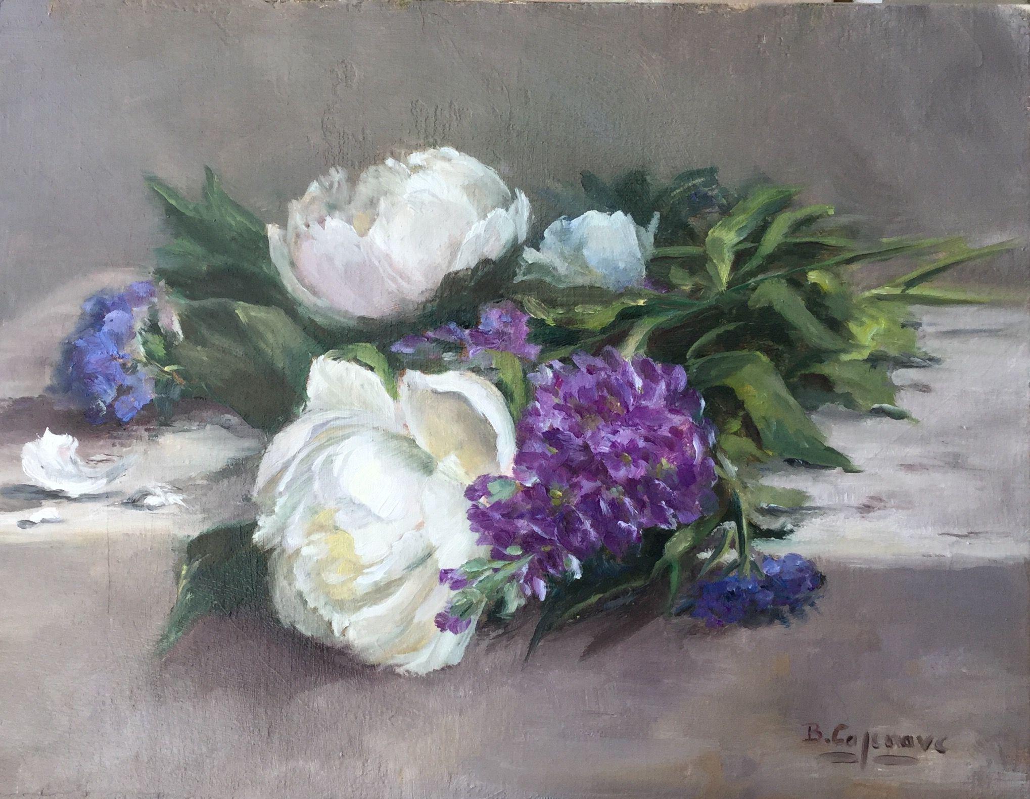les pivoines blanches huile sur toile by brigitte cazenave peinture de fleurs pinterest. Black Bedroom Furniture Sets. Home Design Ideas