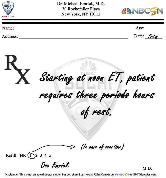 Doctor'S Note For Canada/Usa | Olympics - Sochi 2014 | Pinterest