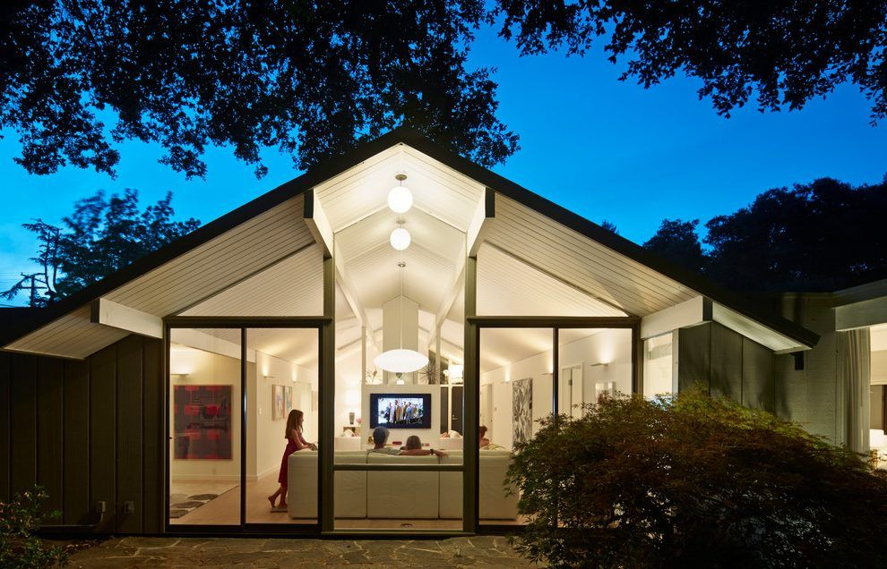 Gable Roof Lighting Exterior Midcentury With Indoor