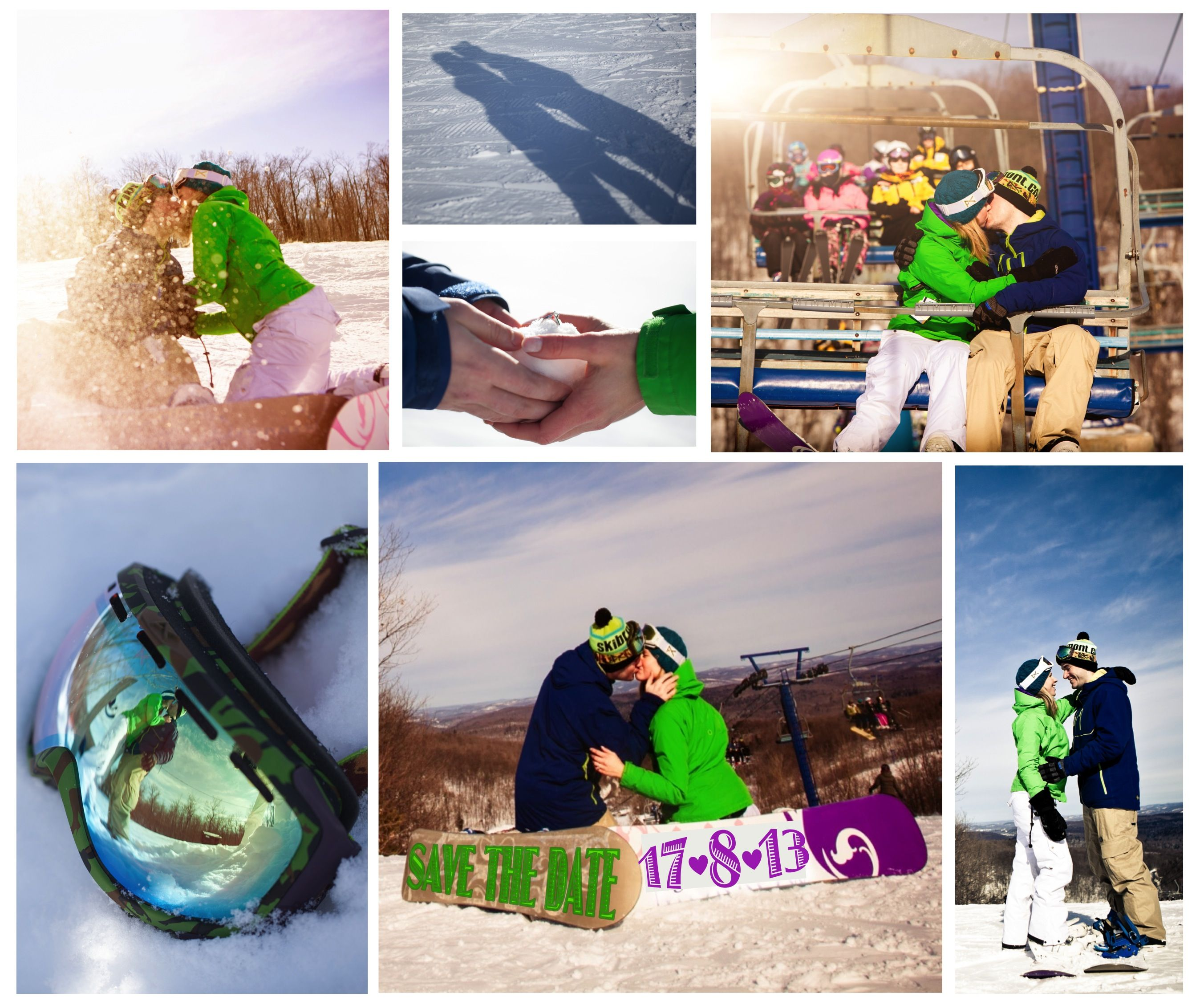 Snowboarding engagement shoot and SAVE THE DATE cards. Photography by StudioArtMaria.