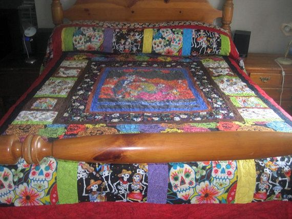 Spiffy Day of the Dead quilt! | Bedroom stuff! | Pinterest | Etsy ... : day of the dead quilt pattern - Adamdwight.com