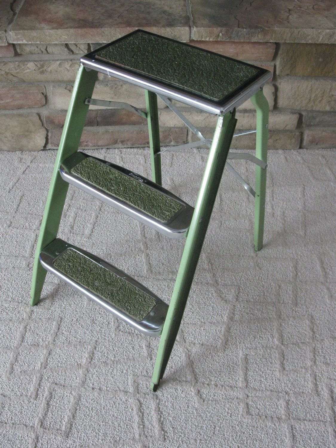 Green Metal Plant Stand Retro Step Ladder Green Metal Chrome Stool Beautyware
