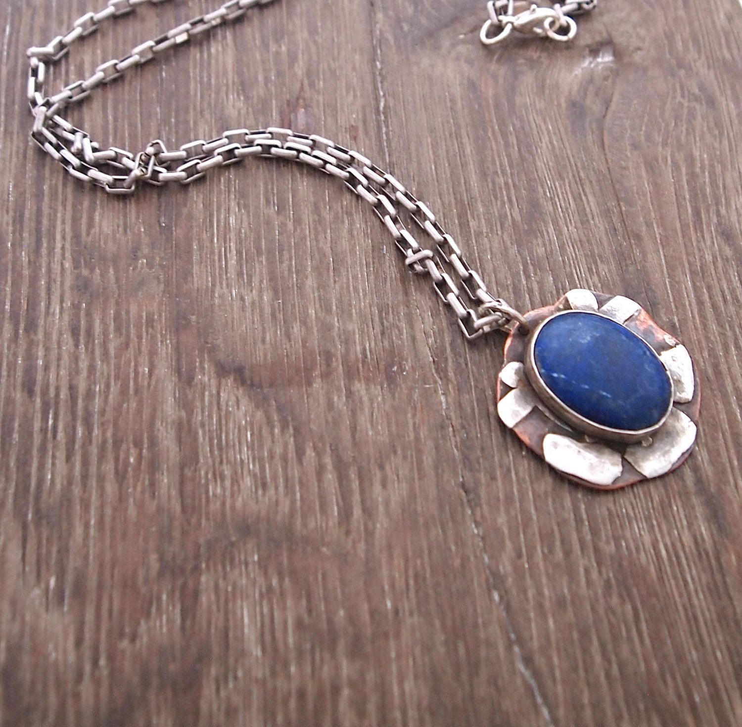Lapis Pendant Necklace, Copper and Silver Necklace, Long Chain Necklace, Navy Gemstone Pendant, Flower Pendant, Mixed Metal Artisan Jewelry by ShillyShallyjewelry on Etsy