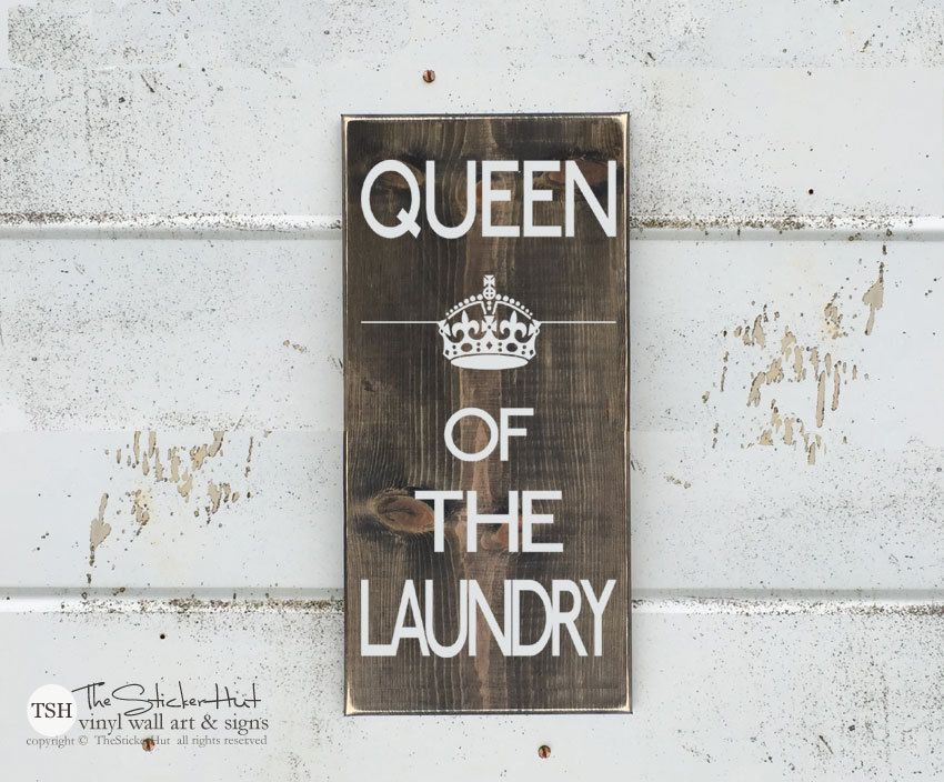 Wall Decor Signs For Home Amazing Queen Of The Laundry Wood Sign  Laundry Decor  Home Decor Design Ideas