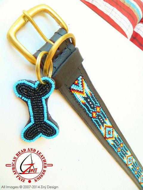 Hand Made Beaded Leather Dog Collar  SANTA FE by ZinjDesign, $32.95