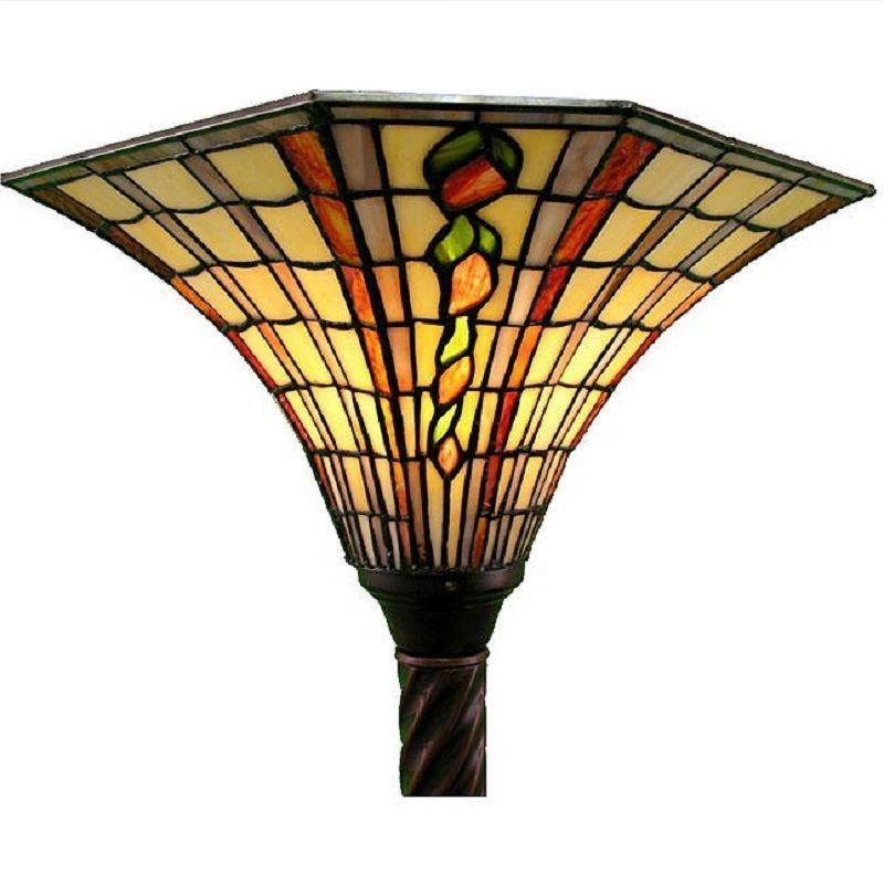 Tiffany Style 113 Bb75b Golden Amber Torchiere Floor Lamp Stained Gl Torch Warehouseoftiffany Stainedgl