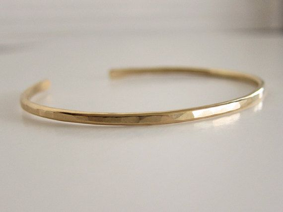 Gold Cuff Bracelet Stacking Stackable In Hammered