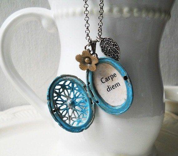 A blue carpe diem locket necklace for women/locket by akinto, $24.00