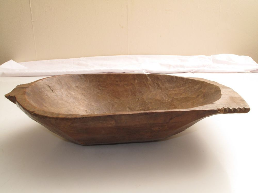 ANTIQUE PRIMITIVE HAND HEWN CARVED WOODEN TRENCHER BOWL DISH 1800\'S ...
