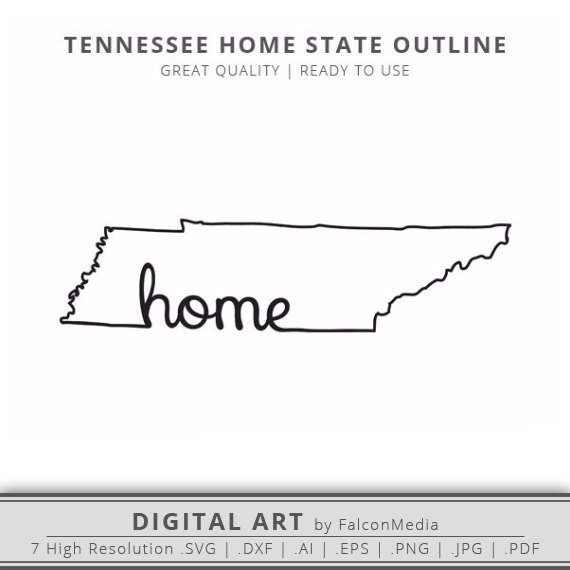 Tennessee Svg Tennessee Home State Outline Svg Tennessee Outline Digital Download Vector Art Cricut Si Tennessee Tattoo State Tattoos State Outline