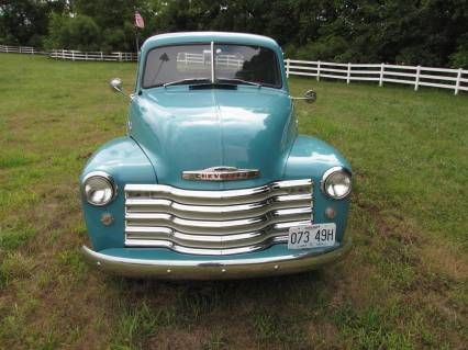 1953 Chevy Truck, classic turquoise.  Very nice indeed!