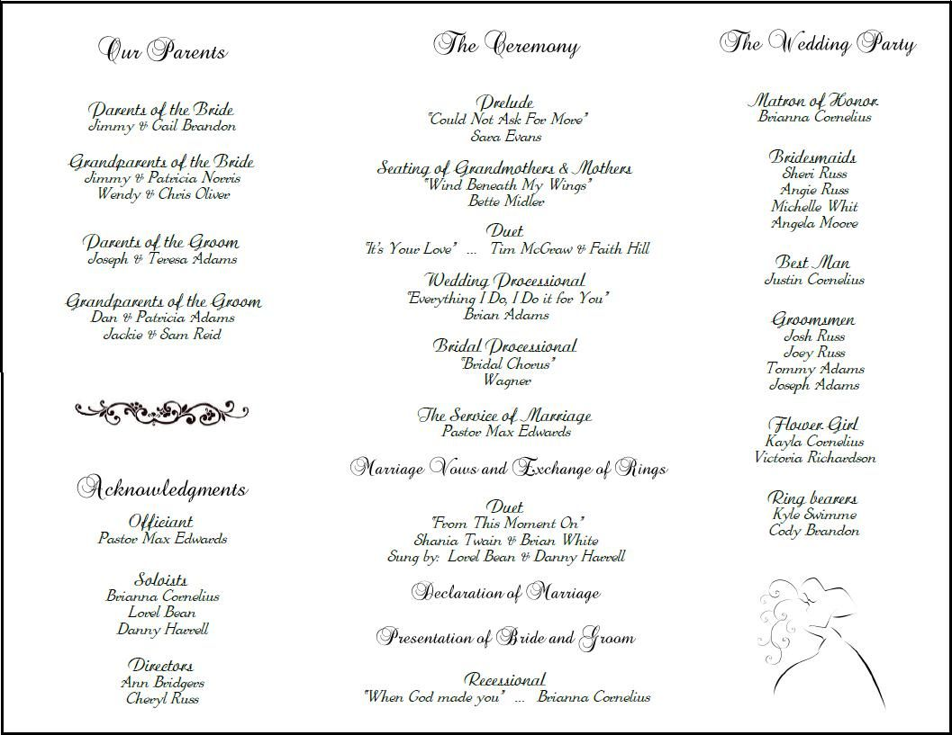 Example Of Wedding Programs Program Back Side Tea Length Tri Fold