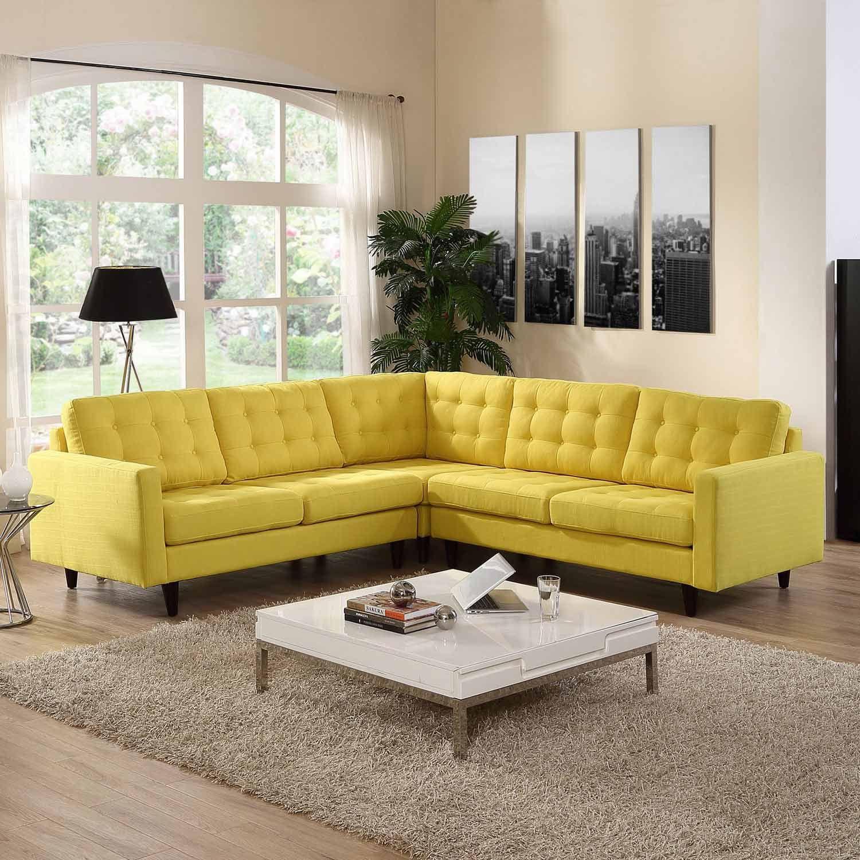 Modway Furniture Empress Modern Yellow Fabric Sectional Modern Sofa Sectional Fabric Sectional Sofas Sectional Sofa