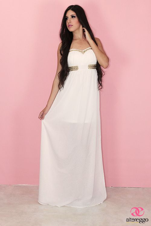 vestido #maxidress #blanco #largo #griego #transparencias #strapple ...