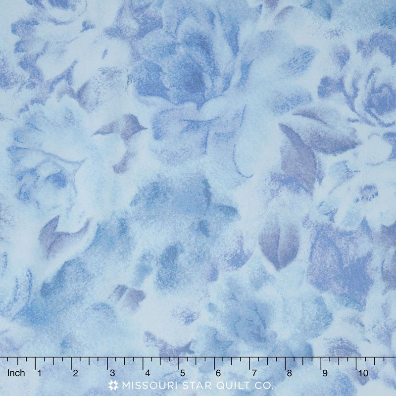 Bedfordshire - Peacock Large Tonal Floral Light Blue Yardage - Jinny Beyer - RJR Fabrics