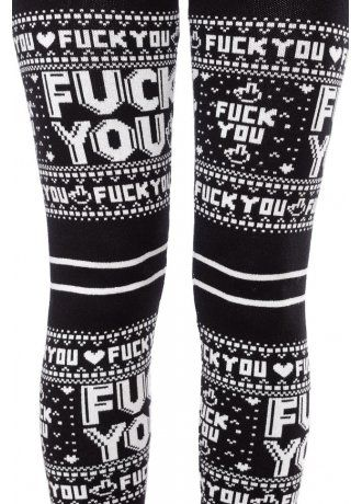 34c86f8bbccf63 Sourpuss Clothing F You Leggings | Attitude Clothing | Gothy ...