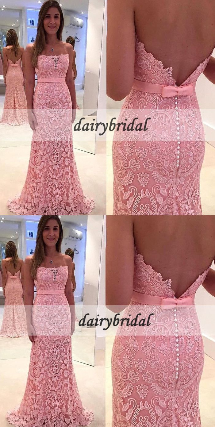 Straight neckline lace prom dress charming backless prom dress