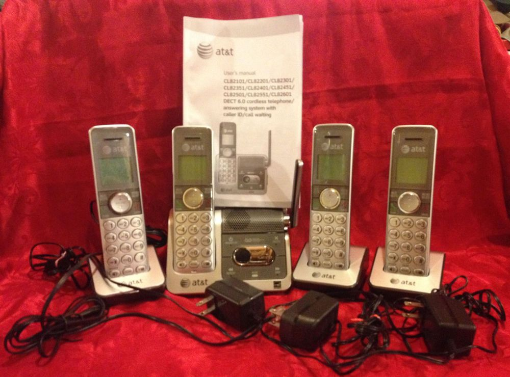AT&T Home Cordless 4 Phones Answering System, Caller ID
