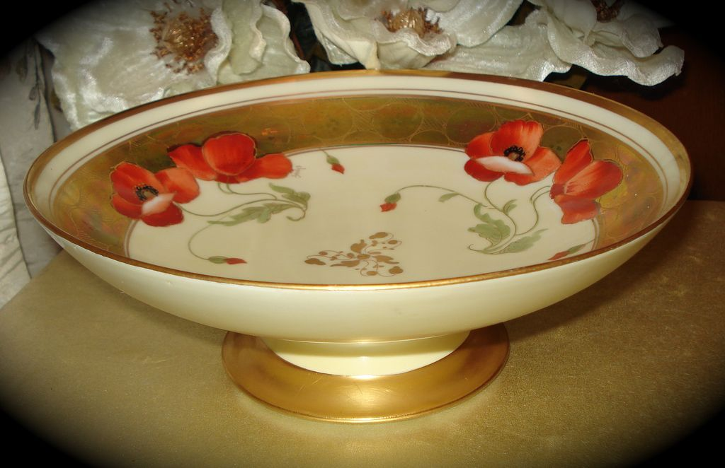 Limoges Poppy Compote Decorated by Pickard Artist Fuchs from allthingslovelee on Ruby Lane