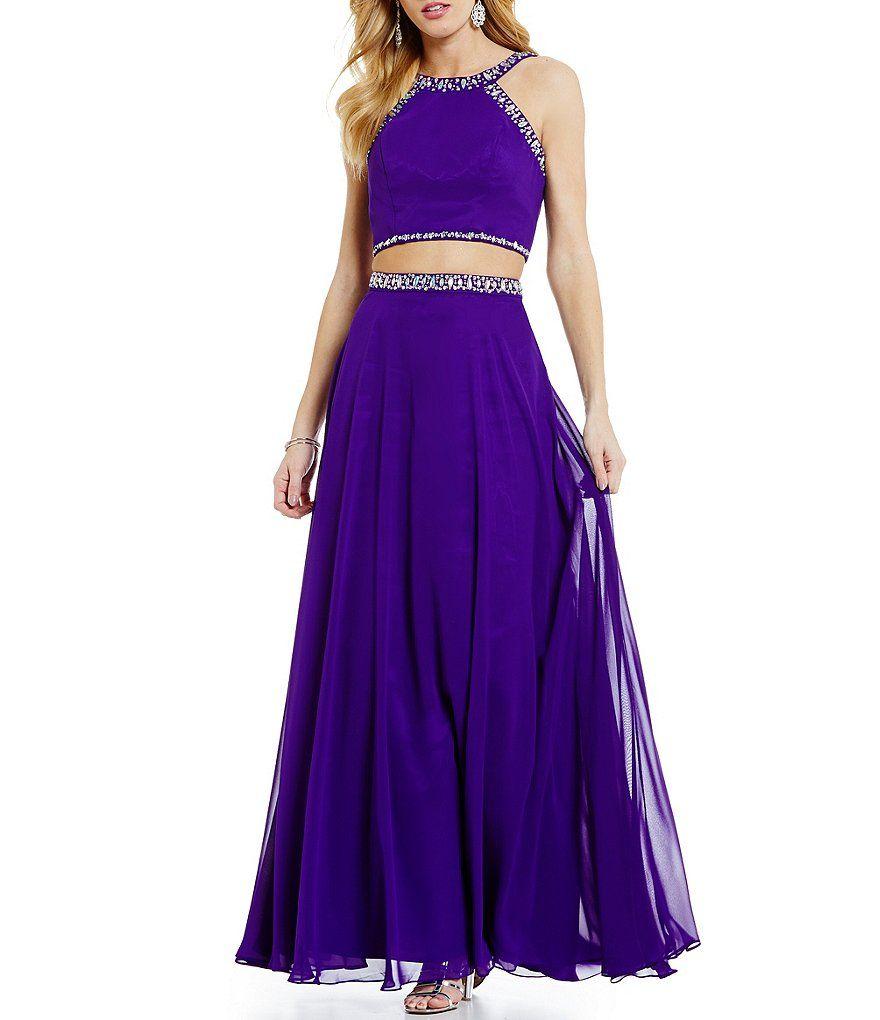 B darlin high neck tonal beaded trim chiffon twopiece long dress