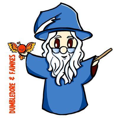 Comment dessiner mignon Chibi Dumbledore et Fumseck de Harry Potter - #chibi #dumbledore #fawkes #harry #potter -