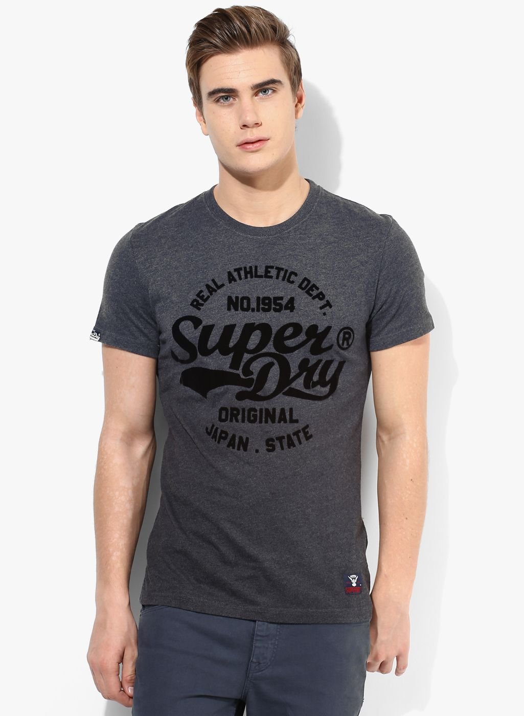 Buy Superdry Grey Printed Round Neck T-Shirt for Men Online India ...