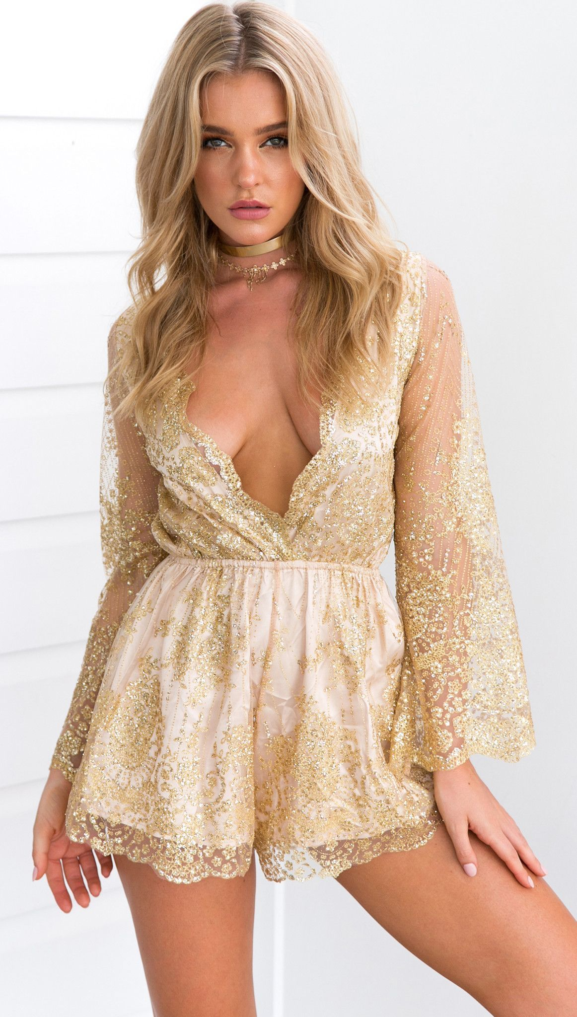 70c3ce66aa Charlee Cooper Gold Sexy Long Sleeved V Neck Playsuit