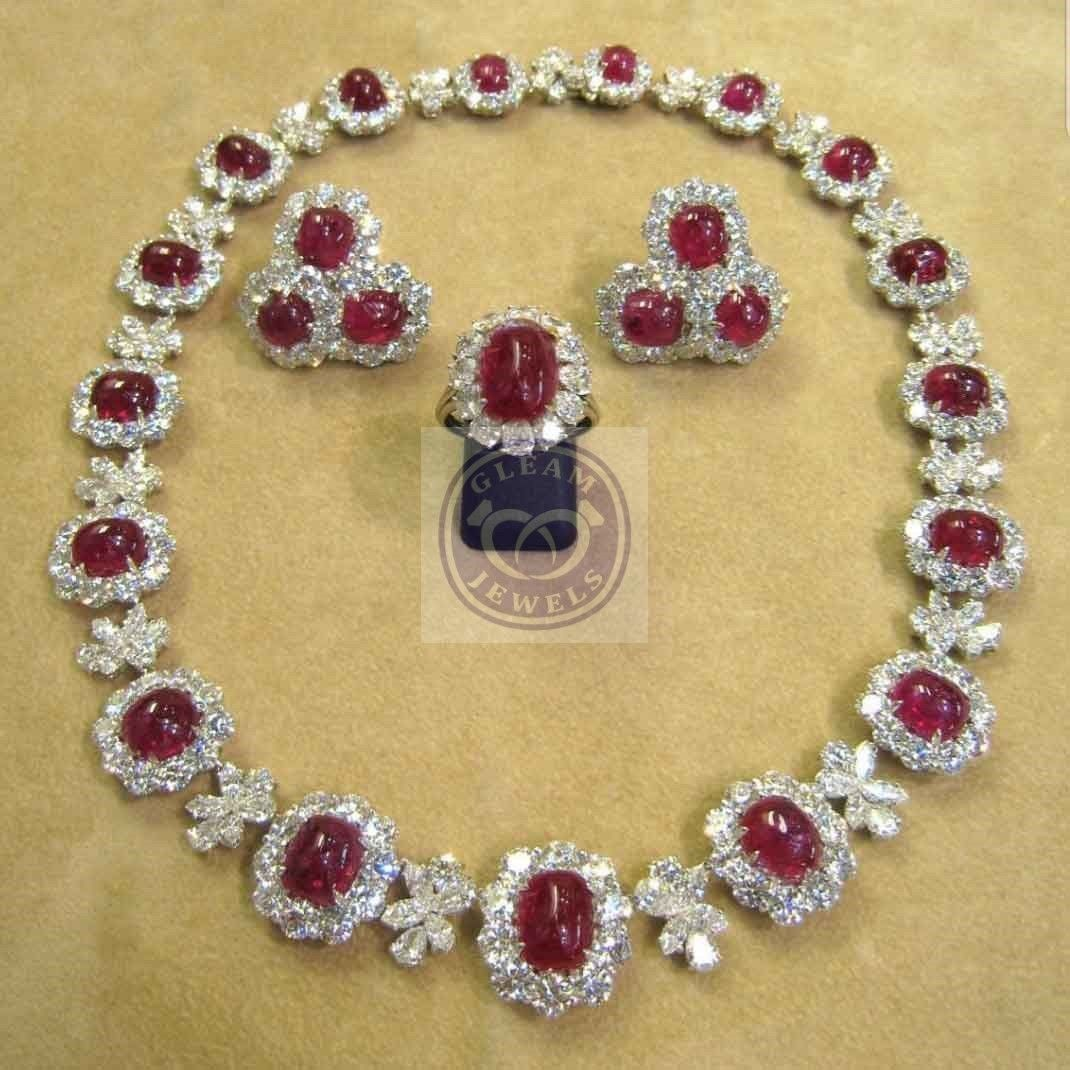 Cabochon Ruby Statement Necklace Chain Ring And Earrings In Silver Fabulous Jewelry Fancy Jewelry Beautiful Jewelry