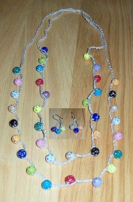 Crocheted Multi Color Beaded Double Necklace and matching earrings