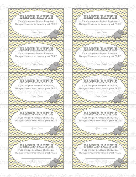 Printable Diaper Raffle Tickets Baby Shower Instant