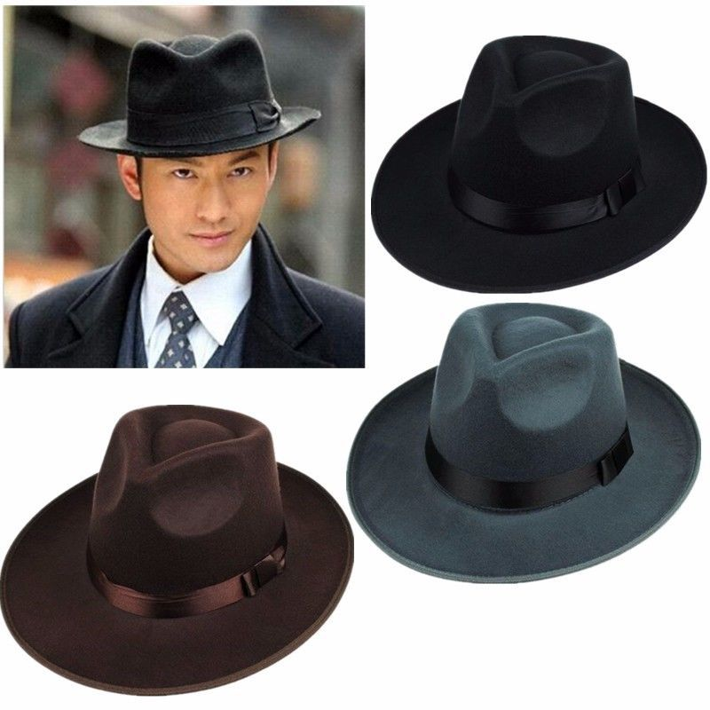 62721f3d4 Vintage Men Women Hard Felt Hat Wide Brim Fedora Trilby Panama Hat ...