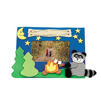 Camp Raccoon Picture Frame Magnet Craft Kit Camping Crafts Picture Frame Crafts Vbs Crafts