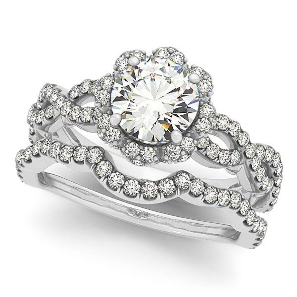 14k White Gold Floral CrissCross Wedding Set Jewelry