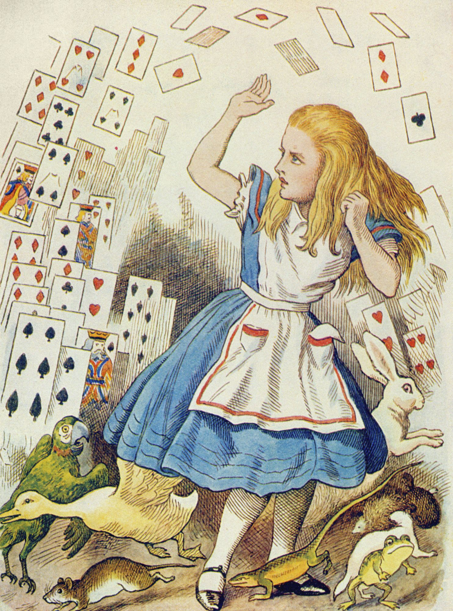 John Tenniel   The Shower of Cards, illustration from 'Alice in Wonderland' by Lewis Carroll   Buy Prints Online